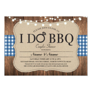 I DO BBQ Blue Engagement Couples Shower Invitation