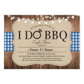 I DO BBQ Blue Engagement Couples Shower Invitation