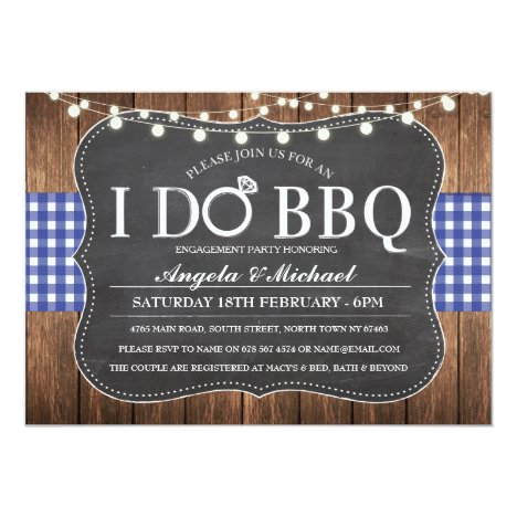I DO BBQ Blue Navy Couples Shower Party Invite