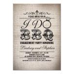 "I do BBQ burlap engagement party invitation 5"" X 7"" Invitation Card"