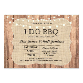 I DO BBQ Burlap Rustic Engagement Invitation