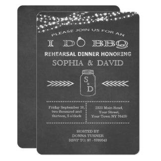 I DO BBQ Chalkboard Rehearsal Dinner Invitation