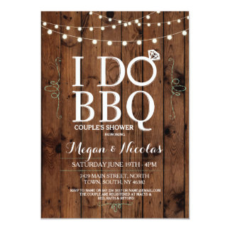 Beautiful I DO BBQ Chalkboard Wood Engagement Party Invite