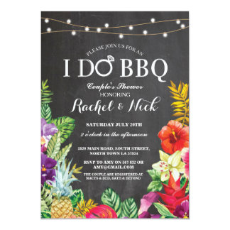 I DO BBQ Couples Shower Chalk Aloha Floral Invite
