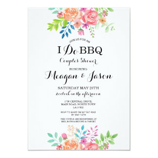 I Do BBQ Couple's Shower Elegant Floral Invites