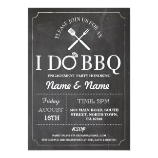 I Do BBQ Couples Shower Engagement Chalk Invite