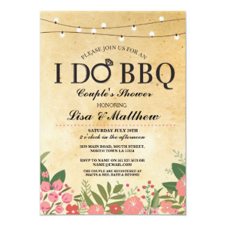 I DO BBQ Couples Shower Lights Coral Floral Invite