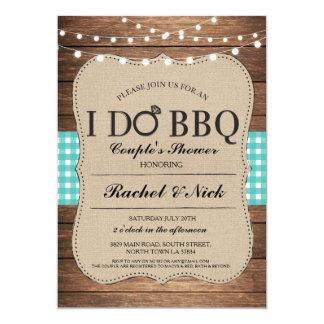 I DO BBQ Couples Shower Lights Gingham Teal Invite