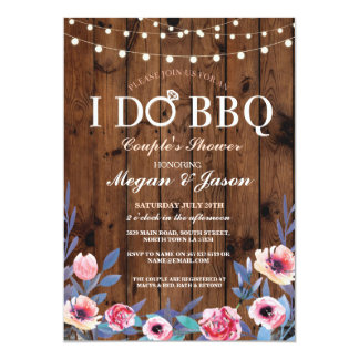 I DO BBQ Couples Shower Lights Wood Flower Invite