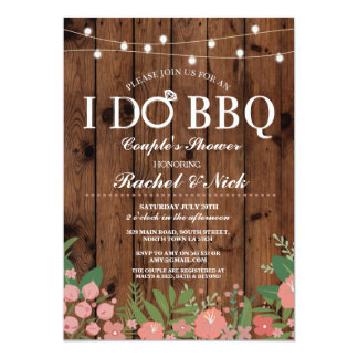 I DO BBQ Couples Shower Lights Wood Flowers Invite