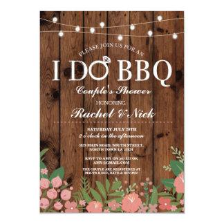 I DO BBQ Couples Shower Lights Wood Flowers Invite