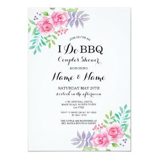 I Do BBQ Couple's Shower Roses Floral Invitations