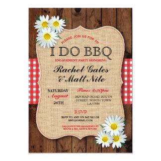 I DO BBQ Couples Shower Rustic Daisy Flower Invite