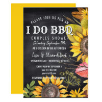 I Do BBQ Couples Shower Rustic Sunflowers Card