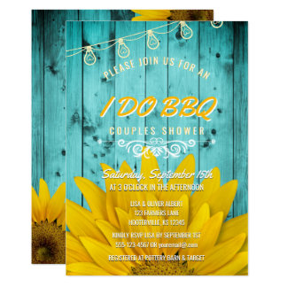 I Do BBQ Couples Shower Rustic Sunflowers Teal Invitation