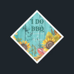 """I Do BBQ Couples Shower Rustic Wood Sunflowers Paper Napkin<br><div class=""""desc"""">Custom sunflower wedding couples shower paper napkins- Rustic country, aqua turquoise wood couples shower engagement BBQ design. Rustic country, watercolor sunflowers and leaves adorn the bottom in earthy, fall colors of yellows, gold, green, brown, and a touch of red. Reads"""