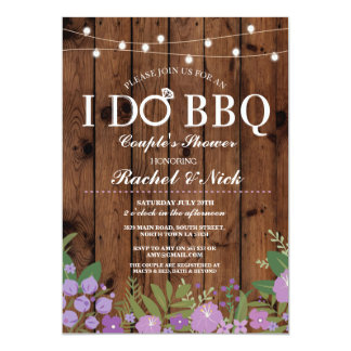 I Do Bbq S Shower String Lights Wood Invite