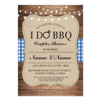 I DO BBQ Couples Showers Rustic Blue Invite
