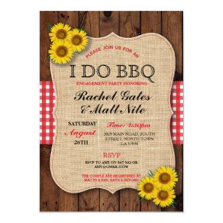 I DO BBQ Couples Showers Rustic Sunflower Invite