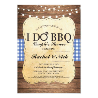 I DO BBQ Couples Showers Wood Lights Invitation