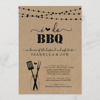 I Do BBQ Couples Wedding Bridal Shower Engagement Invitation