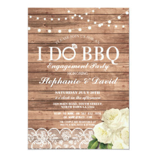 I DO BBQ Engagement Lace Lights Wood Panels Invite