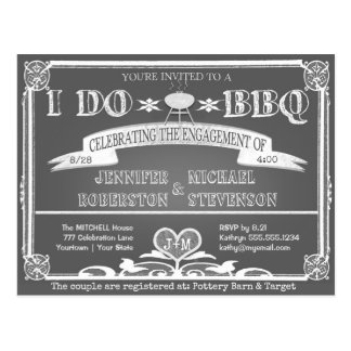 I Do | BBQ | Engagement Monogram Postcard