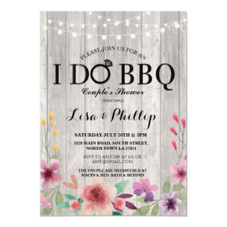 I DO BBQ Engagement Party Couple's Shower Floral Invitation