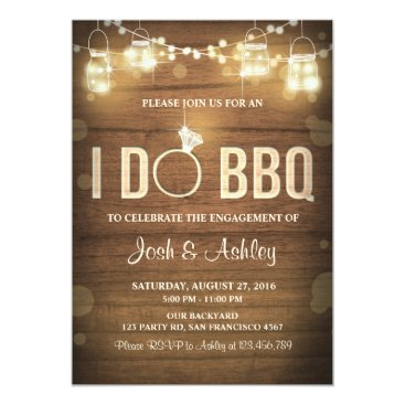 Anietillustration I Do BBQ Engagement Party Couples shower Rustic Card