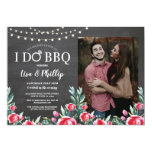 I Do BBQ Engagement Party Floral Chalk Red Photo Invitation