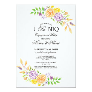 I Do BBQ Engagement Party Floral Invitations