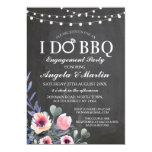 I DO BBQ Engagement Party Flowers Pink Invite