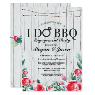 I DO BBQ Engagement Party Grey Wood Invitation