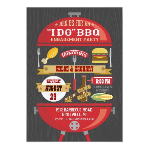 I Do Barbecue Engagement Party Invitations