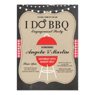 I DO BBQ Engagement Party Red Chalk Shower Invite