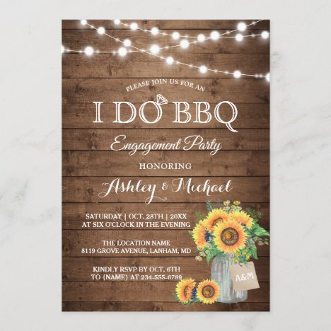I DO BBQ Engagement Party Sunflowers String Lights Invitation