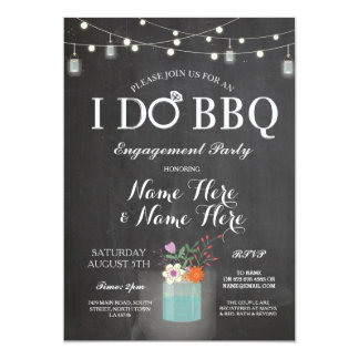I DO BBQ Engagement String Lights Jars Invite