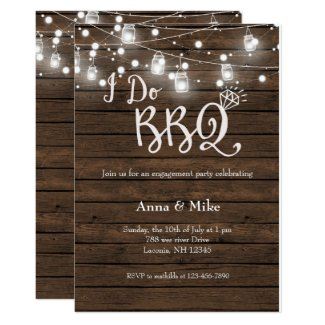 I DO BBQ Engagement Stringlight Invitation