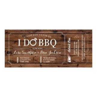 I DO BBQ Engagement Wood Rustic Ticket Invitation