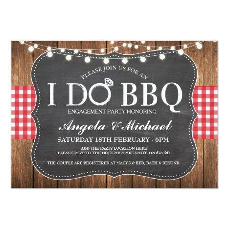 I DO BBQ Engagment Couples Shower Party Invite