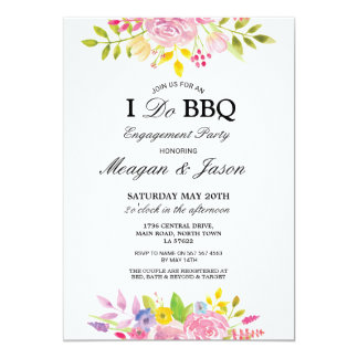 I Do BBQ Floral Pink Pretty Engagement Invitations
