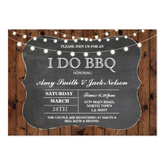 I DO BBQ Invitation Rustic Lights Couples Invite