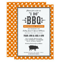 I Do BBQ | Orange Gingham Rehearsal Dinner Invitation