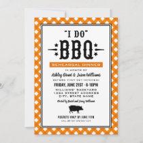 I Do BBQ Orange Gingham Wedding Rehearsal Dinner Invitation