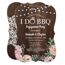 I do BBQ party invitation - rustic wood pink roses