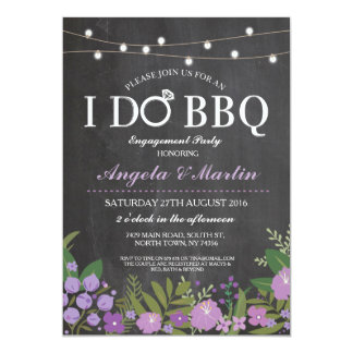 I DO BBQ Purple Chalk Couples Shower Invite