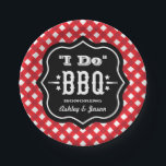 "I Do BBQ | Red and Black Wedding Paper Plate<br><div class=""desc"">Custom &quot;I Do&quot; BBQ party plates can be personalized with the bride and groom&#39;s first names. Features rustic style text framed in black with a red and white gingham plaid background pattern.</div>"