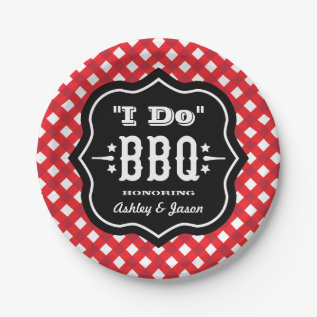I Do Bbq | Red And Black Wedding Paper Plate at Zazzle