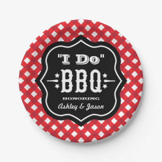 I Do BBQ | Red and Black Wedding Paper Plate