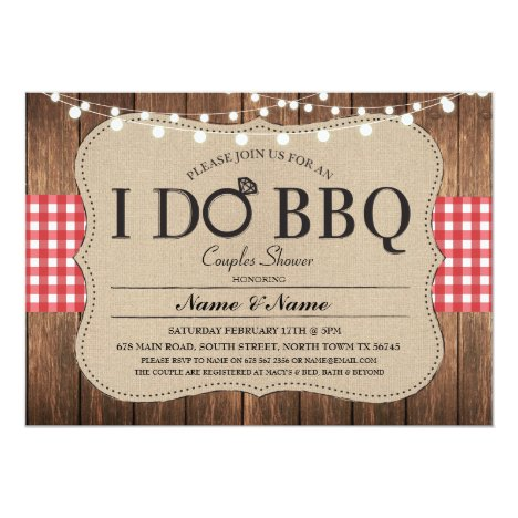 I DO BBQ Red Engagement Couples Shower Invitation